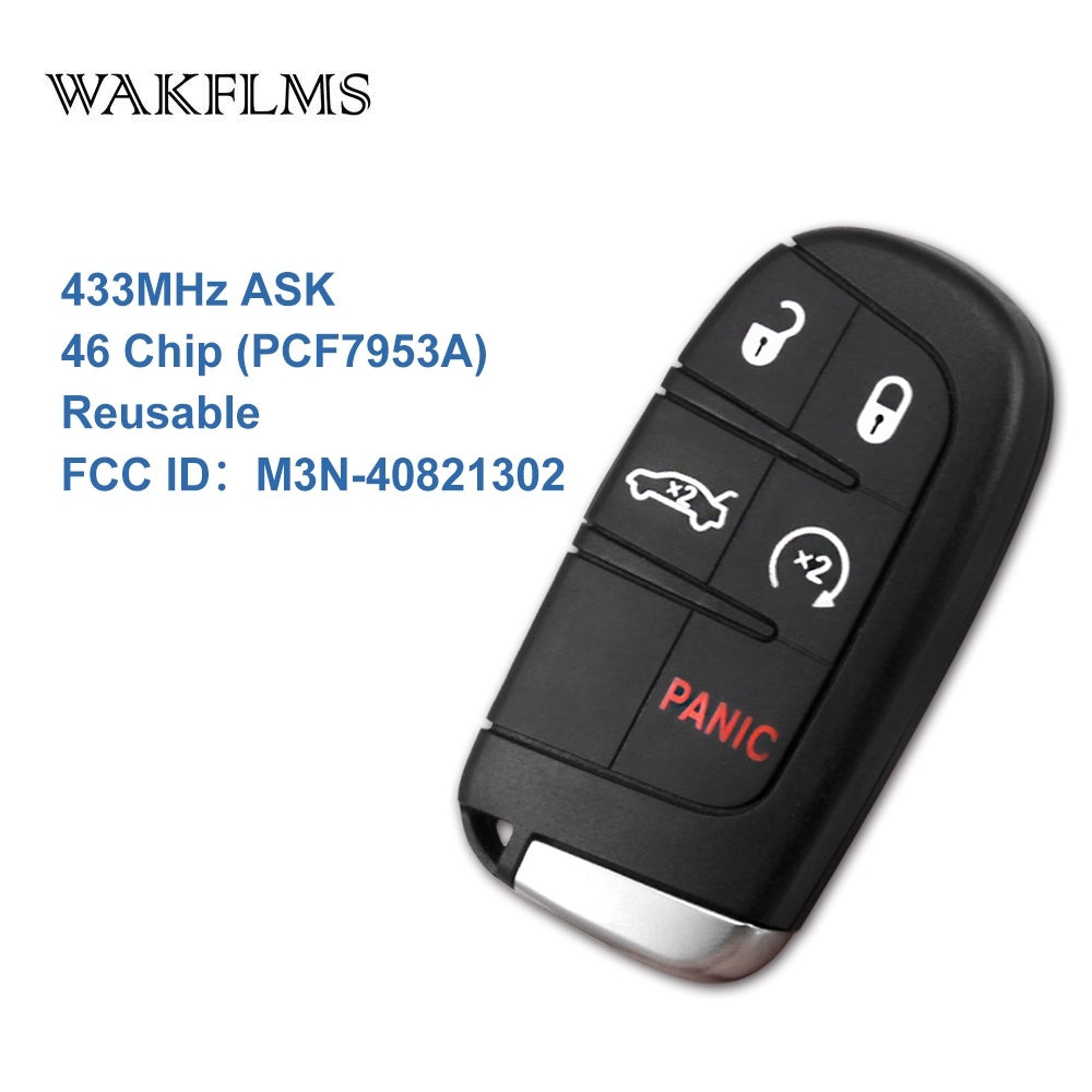 5 Button Smart Remote Key 433MHz Fob for Chrysler Dodge Charger Journey Challenger Durango 300 46 chip M3N-40821302 No Mark - Car Diagnostic Tool