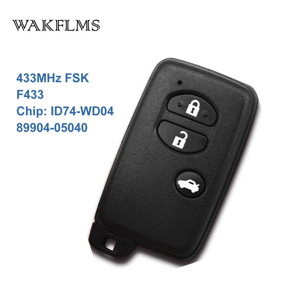 3 Buttons 433MHz Board No F433 ID74-WD04 Chip Black Keyless Go / Entry Remote Car Key For Toyota Avensis 89904-05040 - Car Diagnostic Tool