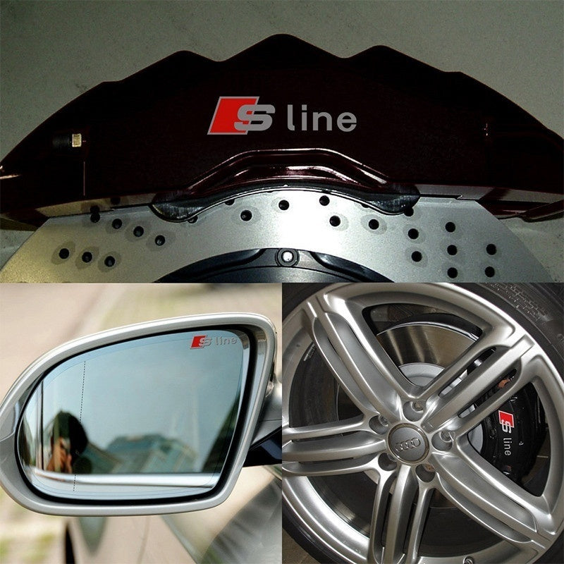 RS S Line Metal Car Door/window Emblem 3D Decoration Stickers Sline Stickers For  RS Sports A1 A3 A4 A5 A6 A7 A8 S8 Q3 Q5 Q7