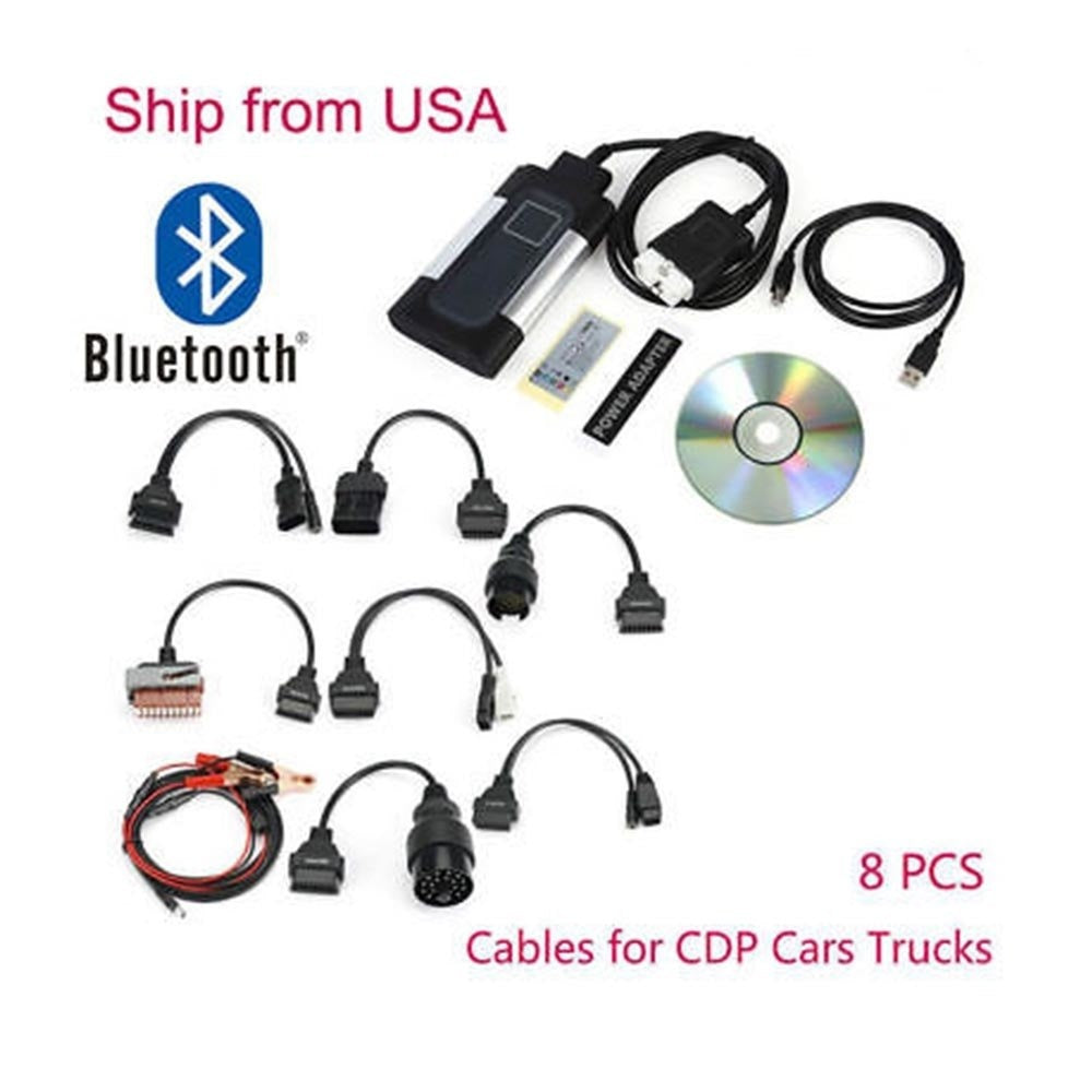 New Bluetooth TCS CDP Pro Plus Diagnostic Scanner For Autocom OBD2 Diagnostic Tool 8 Car Cables