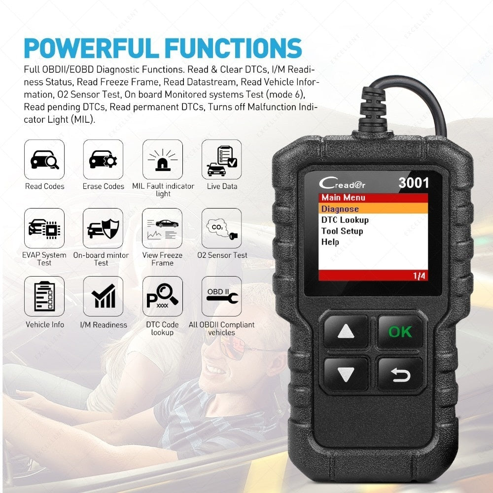 LAUNCH X431 CR3001 OBD2 scanner Provide OBDII/EOBD full function CReader 3001 auto Diagnostic tool obd2 code reader