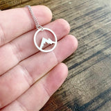Mountain Pendant Necklace Snowy Mountain Top Necklace Circle Range Mountain Necklace Dainty Outdoor Jewelry Gifts For Friends