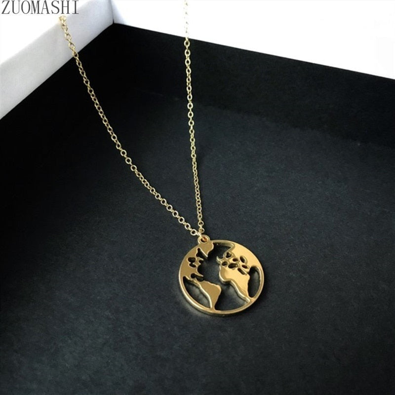 Delicate World Map Necklace Globe Charm Necklace Stainless Steel Boho Jewelry Wanderlust Gift Earth Necklace Travel Gift For Her
