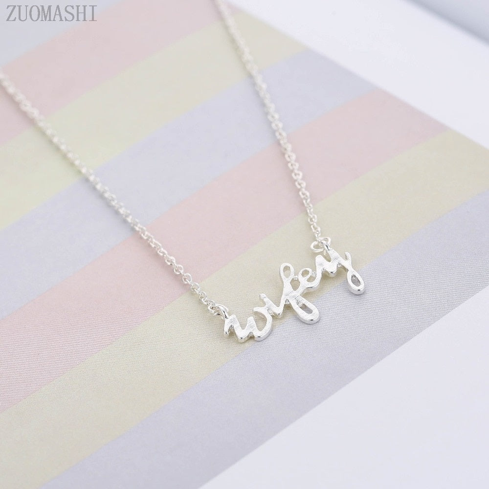Tiny Plated Lucky Wifey Charm Necklace Minimal Wifey Necklace In Gold&Silver Wifey Gift Newlyweds Fast Shipping Holiday Gifts