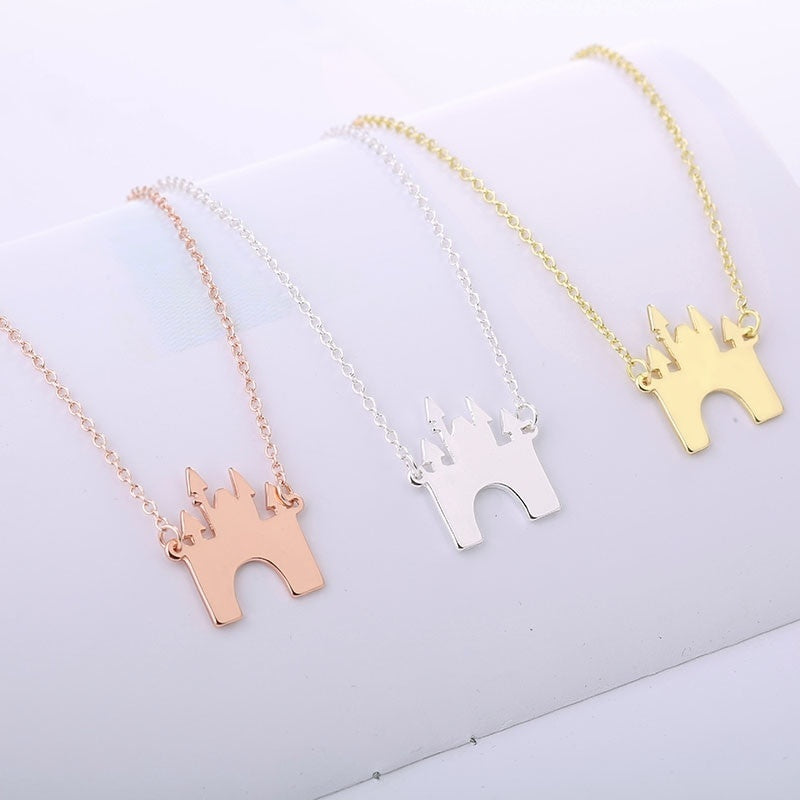 FASHION JEWELRY Exquisite castle Necklace child's fairy tale Building pendant for fans Summer Gift Drop shipping