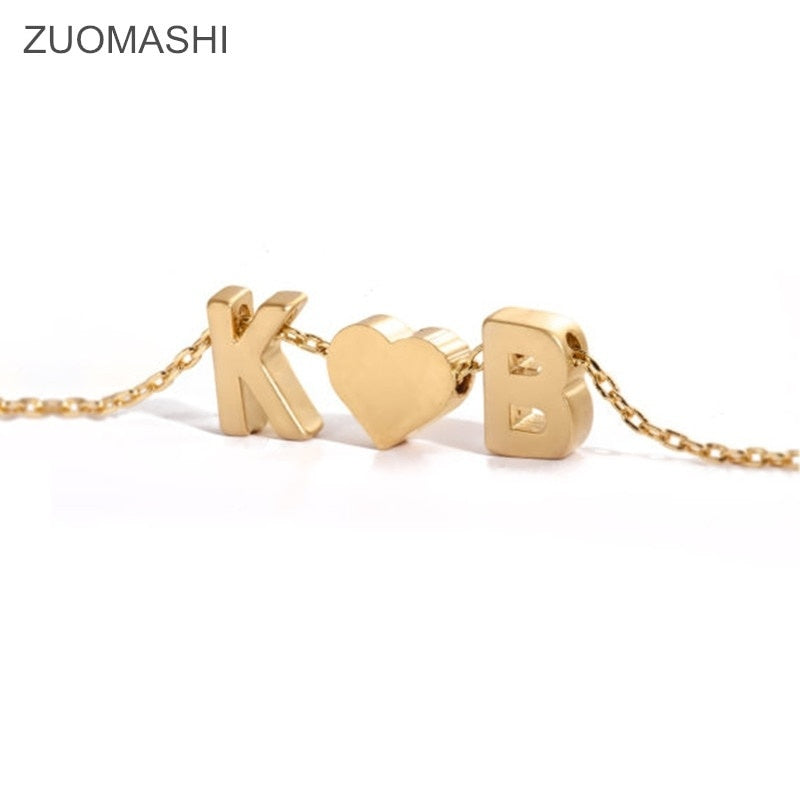 Tiny gold initial and heart necklace double letters name necklaces pendant for women girls .best friend jewelry
