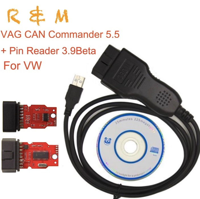 For V.W. and audi VAG CAN Commander 5.5+Pin Reader 3.9 Beta upgrade VCDS security code reading and odometer correction via OBDII