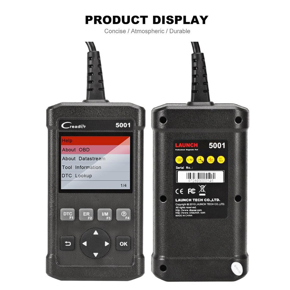 LAUNCH CReader 5001 OBDII/EOBD Diagnostic tool CR5001 Scanner On-board monitor test same update online auto diagnostic scanner