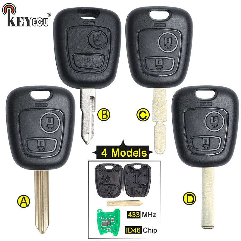 KEYECU 433MHz ID46 Chip Replacement Remote Car Key Fob 2 Button 4 Blade for Peugeot Partner Expert Boxer SX9 206 406 307