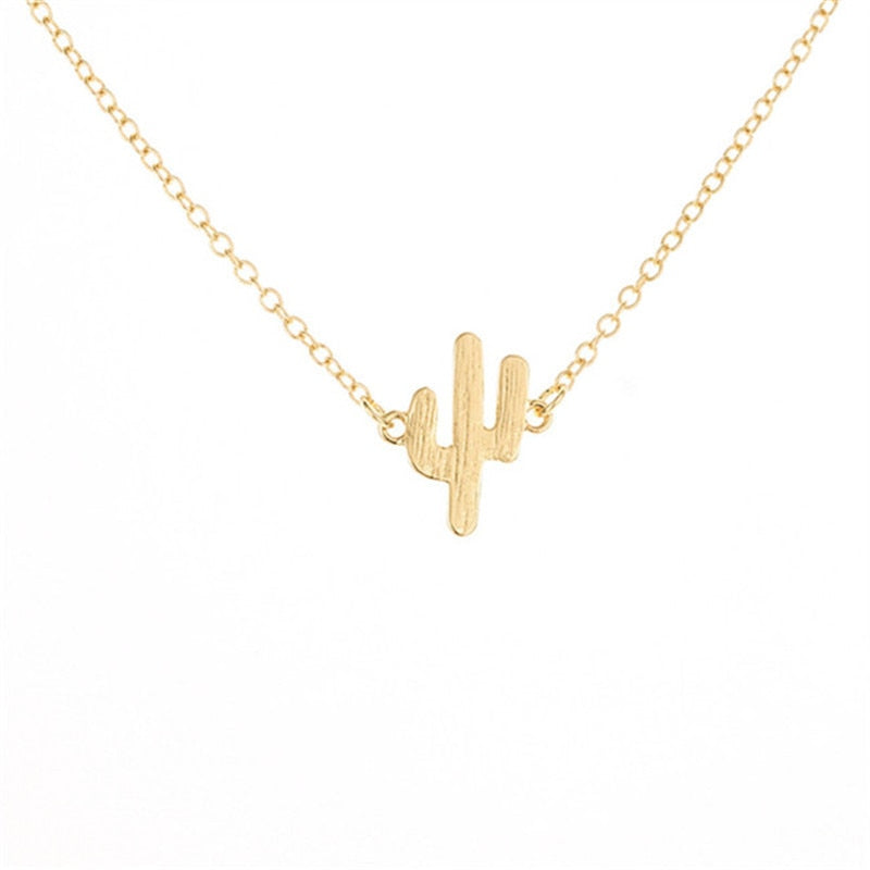 Korea fashion Tiny Dainty Cactus Necklace For Women girls Collier travel jewelry Gold Silver