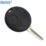 OkeyTech Replacement Car key For Mercedes Benz SMART Fortwo 450 Forfour Roadster Case 3 Button Blank Blade Remote Key Shell Fob