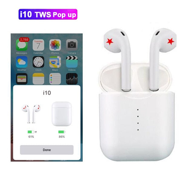 pop up can choose i10 tws i10s tws wireless charge support Earphones Wireless earphone Bluetooth 5.0 Earbuds Touch headset