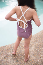 Load image into Gallery viewer, One Piece Lilac and Ivory Swimsuit