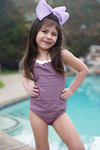 One Piece Lilac and Ivory Swimsuit
