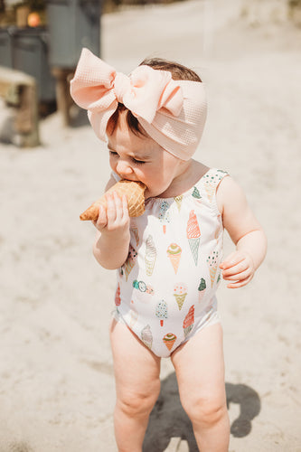 One Piece Ice Cream Cone Swim Suit