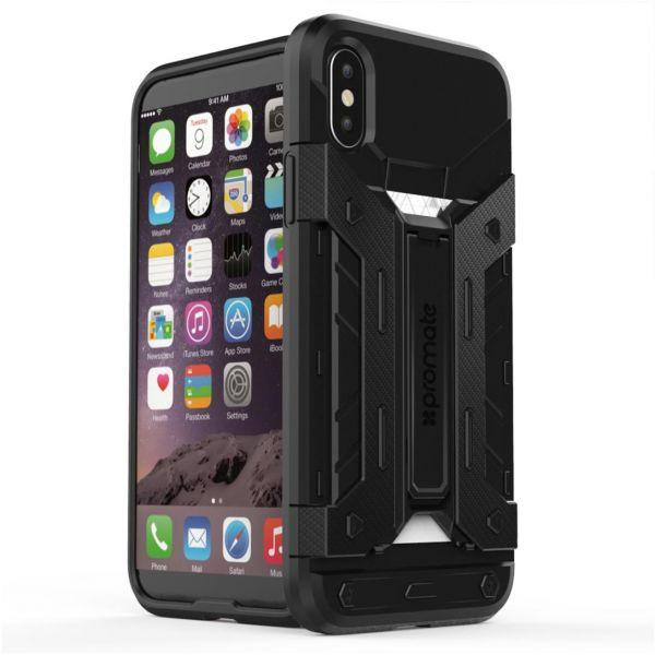 Promate iPhone X Case, Heavy Duty Full Body Protective Rugged Armor Hard Cover with Card Holder, Shockproof, Drop Protection and Kickstand Case for Apple iPhone X / iPhone 10, Armor-X