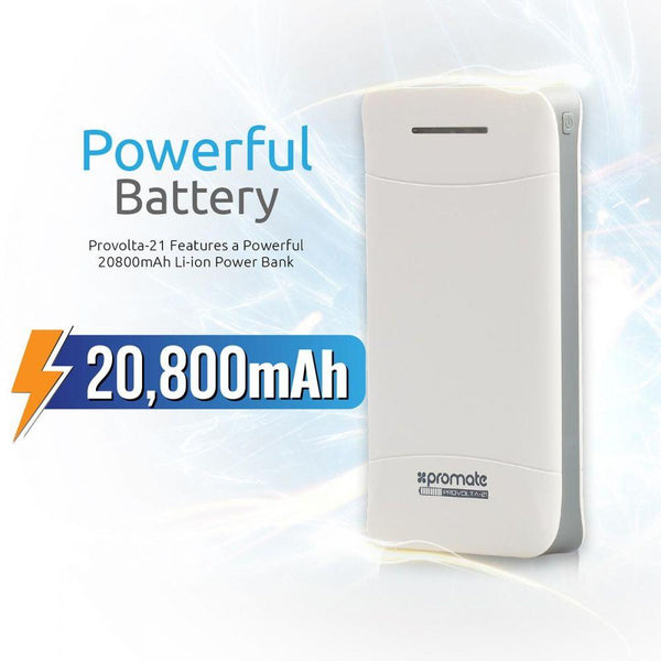 Promate Power Bank, 20800mAh Portable External Battery backup Charger with 3.1A Ultra-Fast 3 USB Port and LED Flashlight for Smartphones, Tablets, Bluetooth Devices, GPS, Provolta-21 White