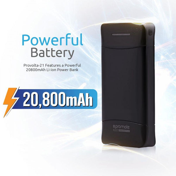 Promate Power Bank, 20800mAh Portable External Battery backup Charger with 3.1A Ultra-Fast 3 USB Port and LED Flashlight for Smartphones, Tablets, Bluetooth Devices, GPS, Provolta-21 Black