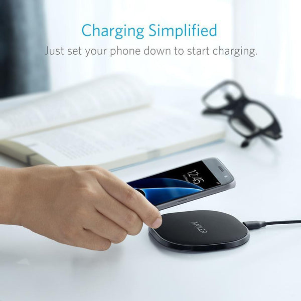 Anker Fast Wireless Charger PowerPort Qi 10 Wireless Charging Pad for Galaxy S7 / S6 / Edge / Plus, Note 5 / 4, LG, Nexus, HTC and More