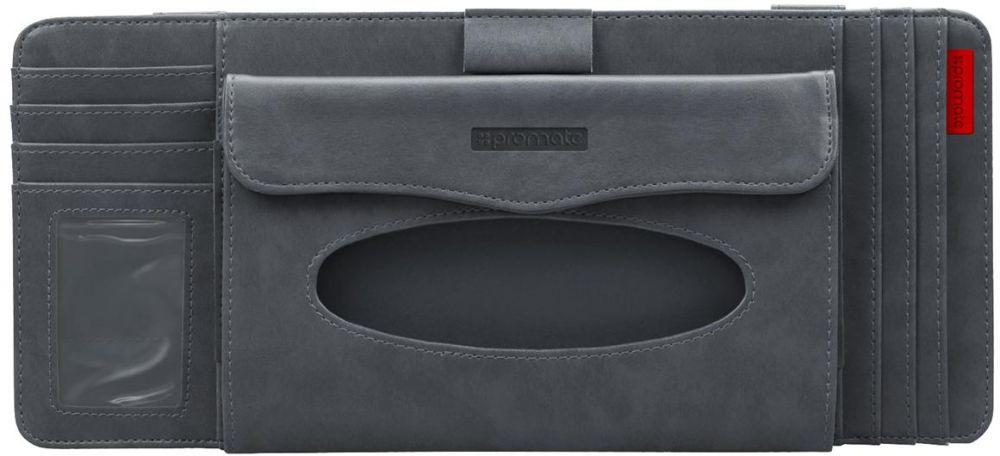 Promate Car Sun Visor Organizer, 4-in-1 Multifunctional Car Sun Visor Organizer, CD Holder, Tissue Box, Pen Holder and Card Holder Organizer, CarCaddy-Grey