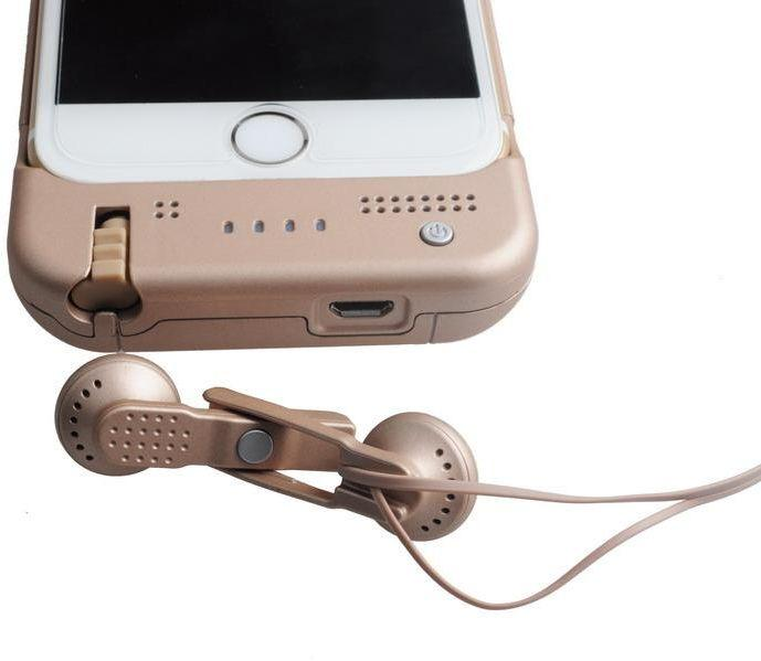 Tashells Backup Battery With Built-in Earphone For iPhone 6/6s Gold