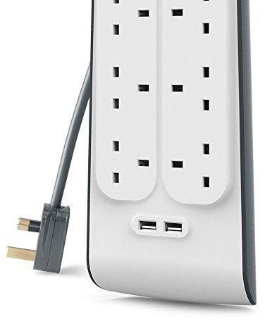 Belkin 8 Way 2 m Surge Protection Strip with 2 x 2.4 A Shared USB Charging - White, BSV804AF2M