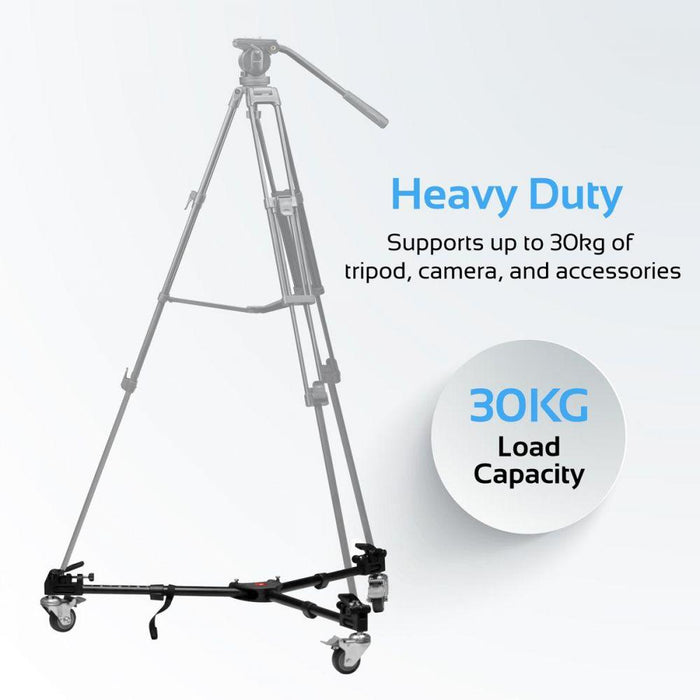 Promate Tripod Dolly,Photography Heavy Duty Foldable Tripod Dolly with Wheels and Adjustable Leg