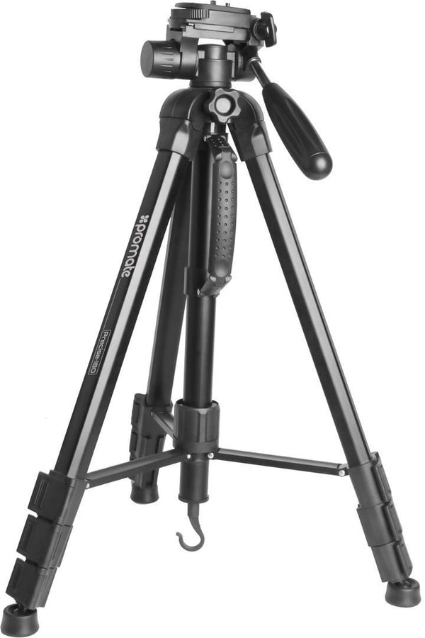 Promate Camera Tripod, Lightweight Portable 178cm Travel Tripod with Convertible Monopod, 360 Degree Head, 4 Section, Quick Release Plate with Carrying Case for All Cameras and Smartphones, Precise-180