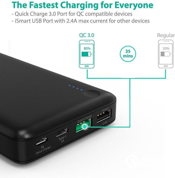 RV-PB043 mobile charger for 20100 mAh for smart phones and tablets, Qualcom 3.0 port and ISMART from Ravpower، USB C