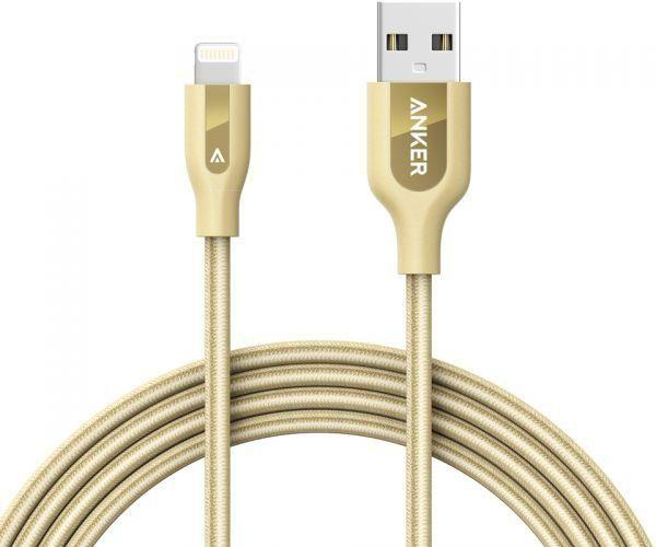 Anker PowerLine plus Lightning Cable (6ft/1.8m) Durable and Fast Charging Cable (Double Braided Nylon) for iPhone, iPad and More - Gold