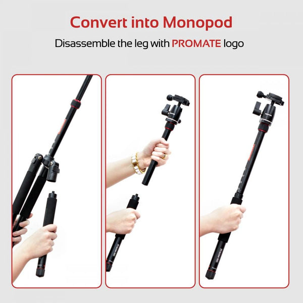 Promate Portable Tripod, Professional 5 Section Aluminum Tripod Monopod with 360 Degree head, 5KG Load Capacity, Dual Bubble Level for Smartphones, Canon, Nikon, DSLR, Camcorder, Precise-155