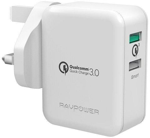 RAVPower 30W Dual USB Charger with Quick Charge 3.0 - RP-PC006 / White