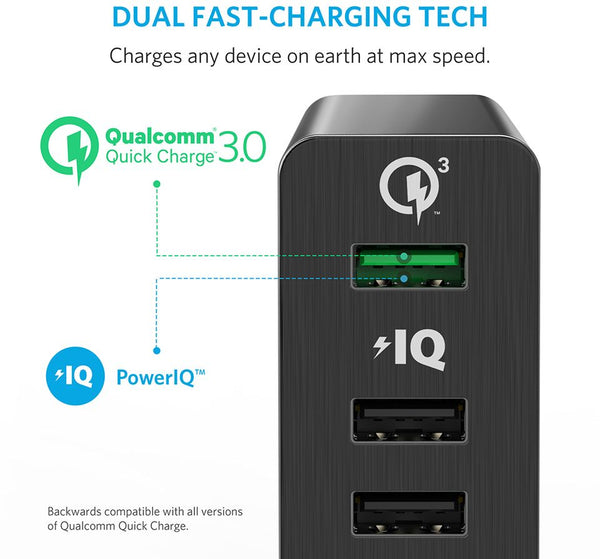 Anker Power 6 Port with Quick Charge 3.0 Wall Charger For Mobile Phones - A2063K11