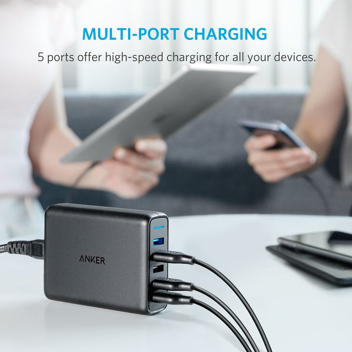 Anker Power 5 Port with Dual Quick Charge 3.0 Wall Charger For Mobile Phones - A2054K11