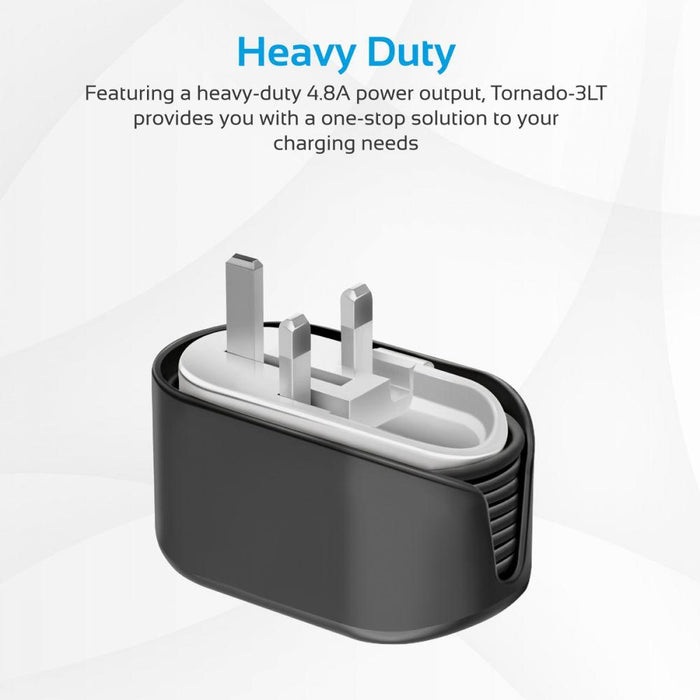 Promate USB Wall Charger, Heavy Duty Home Charger with 3 USB Ultra-Fast Charging Ports, Smart Current Detection and Built-In 1M Lightning Cable for iPhone, iPad, iPod, Smartphones, MP3, MP4, Tornado-3LT Black UK