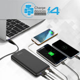 Promate Portable Charger, High-Capacity 30,000mAh Smart Charger Power Bank with Lightning and Micro USB Input, Three USB output with 2-way Type-C Charging Port for all USB Powered Devices, Provolta-30 Black