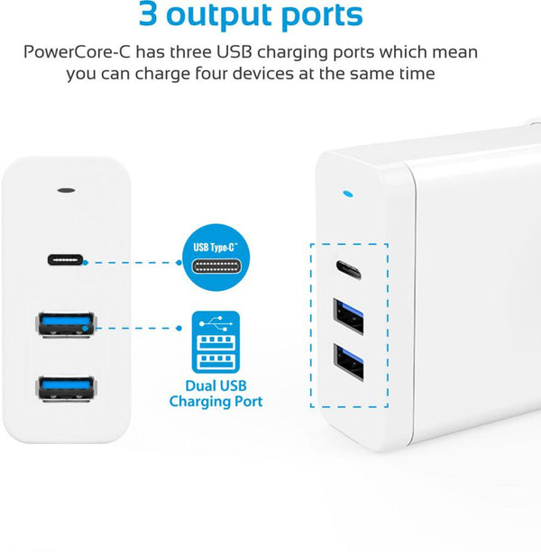 Promate Travel Charger, Universal Fast Charging 60W Dual USB Qualcomm QC 3.0 Port with Power Delivery USB Type-C Charger, Over-Charging Protection and Multi-Regional Plug for Smartphones, Tablets, PowerCore-C White