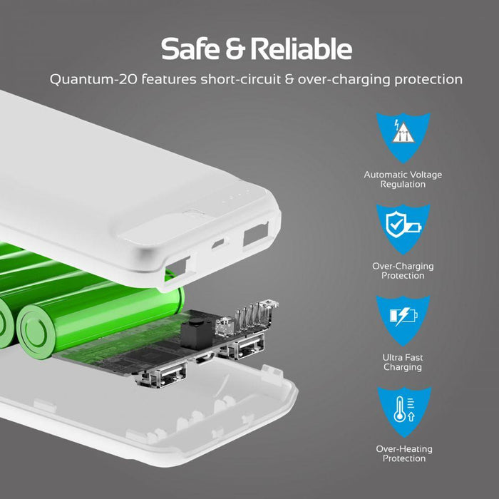Promate Power Bank, Ultra-Compact 20000mAh Portable charger with Ultra-Fast Charging Dual 2.4A USB Port and Over Charging Protection for Smartphones, Tablets, iPod, iPad Quantum-20 White