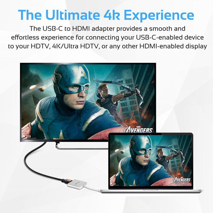 Promate USB Type-C Hub, Aluminum Multi-Port USB-C Adapter to 4K HDMI Video Output with USB-C Pass-Through Charging and USB 3.0 Port for MacBook Pro, Chromebook Pixel, iOS, Windows, Unihub-C2 Grey