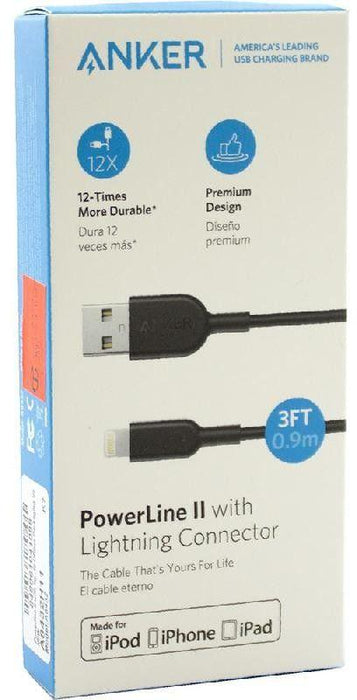 Anker PowerLine II, Lightning to USB 2.0, Sync & Charge Cable, 3.00 ft ( 91.44 cm ), Black
