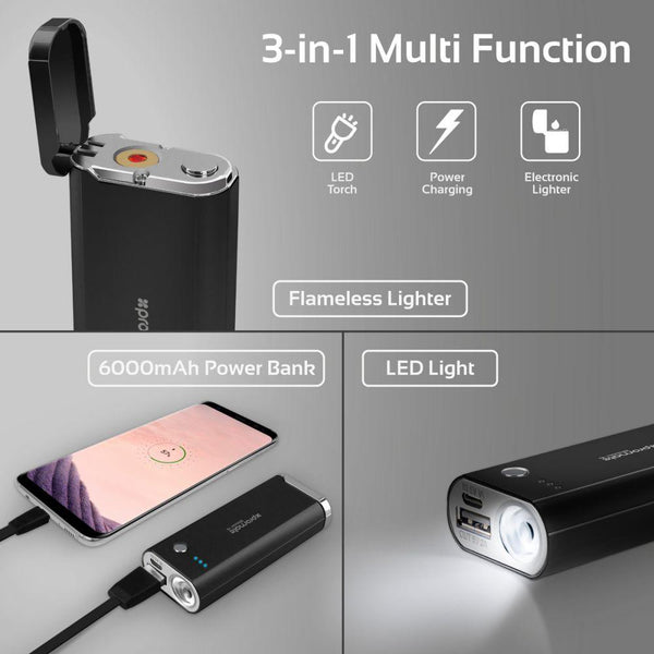 Apple iPhone 5 Promate Power Bank, 3-In-1 Portable High Capacity 6000mAh Power Bank with Rechargeable Flameless Lighter, USB Charging Port with LeD Torch Light, Blazer-6 Black
