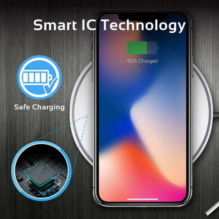 Promate Wireless Charging Pad, Ultra-Fast Qi Wireless Charger with Anti-Scratch, Anti-Slip Surface and Over-Current Charging Protection for Smartphones, AurPad-3 White