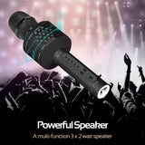 Promate Wireless Karaoke Microphone, Multi-Function Karaoke Microphone with Built-In Bluetooth Speaker, Echo Control, Volume Control, Micro SD Card and AUX Slot for iPhone, Samsung, VocalMic-3 Black