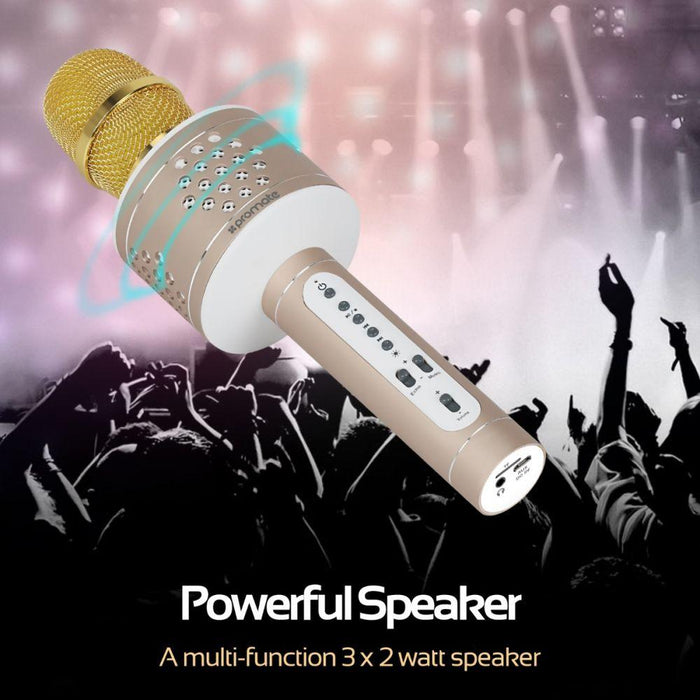 Promate Karaoke Microphone, 2-In-1 Wireless Microphone Bluetooth HD Speaker with Echo Reverberation, Equalizer Control, Audio Jack and Micro SD Card Slot for Smartphone, Tablet, VolcalMic-3 Black