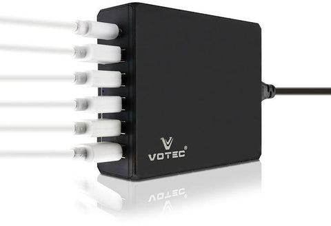 Votec 6 Port Home Charger With IQ Technology - Qualcomm Quick charge 3.0 - Black