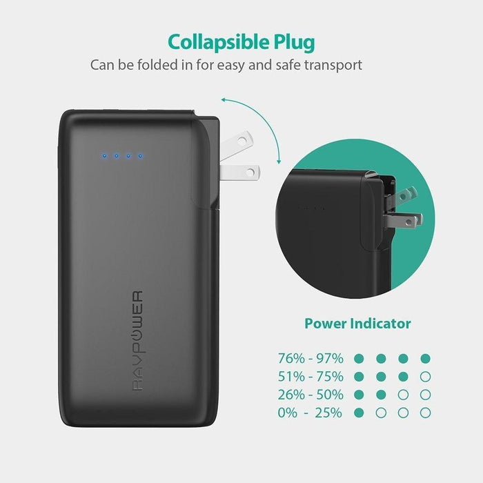 RAVPower Savior Series 10050mAh Portable Charger with 2 in 1 AC Plug - Black