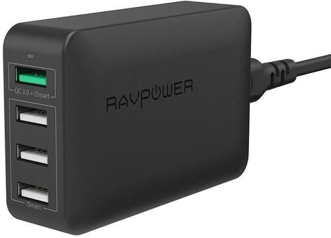 RAVPower QC3.0 40W 4-Port USB Charging Station UK BLACK