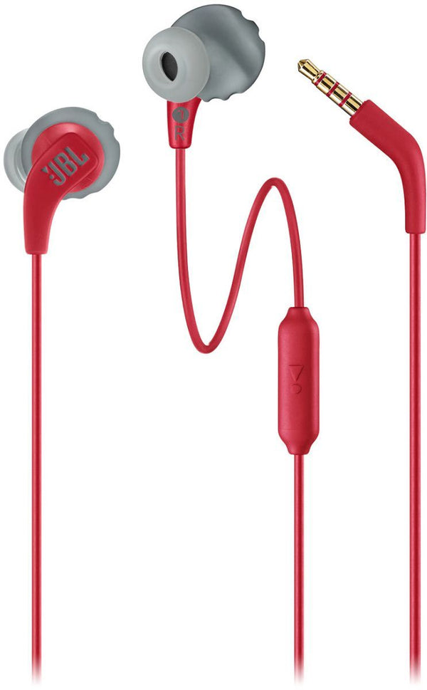 JBL Endurance RUN Sweatproof Sports In-Ear Headphones with One-Button Remote and Microphone - Red - JBLENDURRUNRED