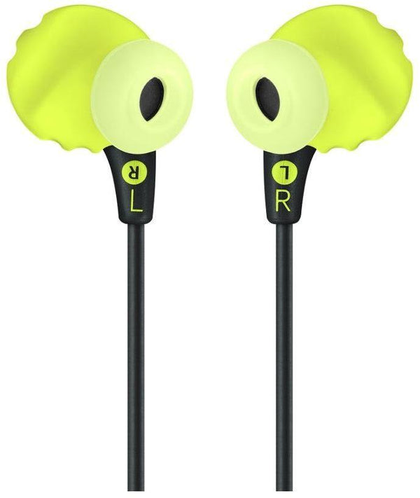 JBL Endurance RUN Sweatproof Sports In-Ear Headphones with One-Button Remote and Microphone - Yellow Green - ENDURRUNBNL