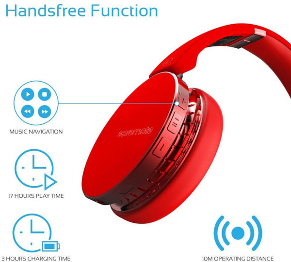 Promate Wireless Headphones. Dynamic Over Ear Bluetooth Stereo Headset, Soft Earmuffs, with Music Control, Built-In Mic, Noise Cancelling and Wired 3.5m Audio for iPhone, Samsung, LG, Waves Red